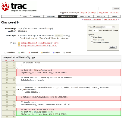 Trac changeset viewer.