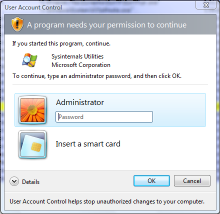 UAC prompt for a non-administrative account.